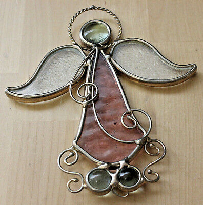 Vintage Stained Glass Angel Gold Plated Metal Window Hanging