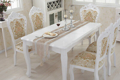 Cream Diamante Chenille Placemat Wedding Decor Flocked Damask Table Runner Set