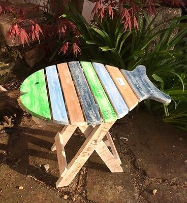 Hand Painted Wooden Fish Shaped Stool Stand 32cm tall Nautical Shabby Chic Kids