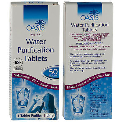 Genuine OASIS WATER PURIFICATION TABLETS - 17mg British Army Issue Survival Tabs