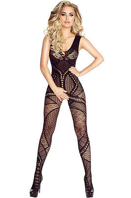 Hollow-out Pattern Open Crotch Seamless Bodystocking