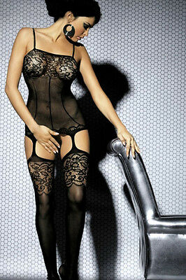 Black Intimate Lace Detail Bodystocking