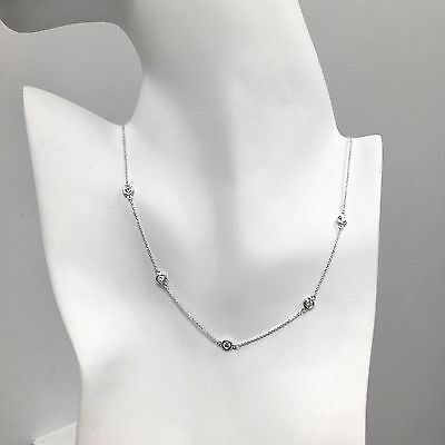 """1 Ct Diamond By The Yard 5 Station Choker Necklace 14k Gold 14""""-20"""" Natural"""