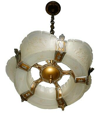 Vtg Antique Royal Coat Of Arms Slip Glass Chandelier Art Deco Lamp Fixture Light