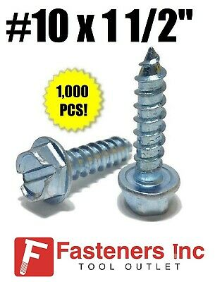 """(Qty 1000) #10 x 1 1/2"""" Hex Washer Head Slotted Sheet Metal Screw Zinc Plated"""