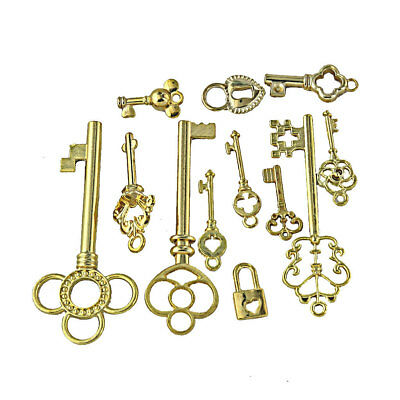12Pcs Antique Gold Mixed Style Key Charms Pendant for Craft Findings