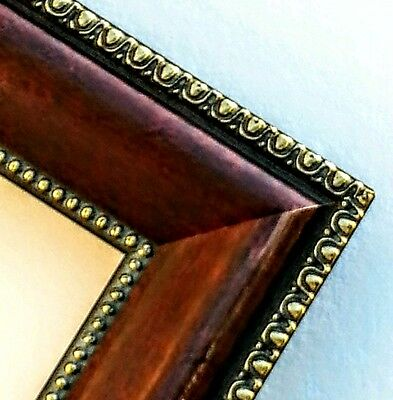 20 ft - Ornate Mahogany Gold Picture Frame Moulding, Beaded Lip, Real Wood