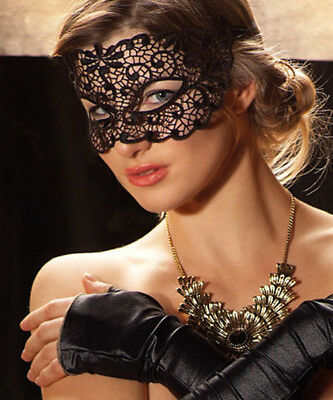Black Lace Fox Mask /& Ears Venetian Masquerade Mask Fancy Dress Woman IN9Z