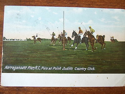 Narragansett Pier, R.l., Polo at Point Judith Country Club, 1908 old Postcard,