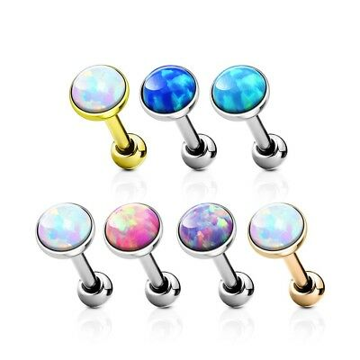 C0004 Flat Gem Opal Set Cartilage Upper Ear Stud Earring Helix Bar 1.2 x 6mm