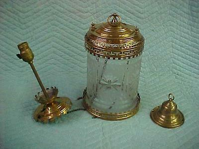 Antique Pull Down Oil Fixture with Frosted/Wheel Cut Shade, Parts or Restore