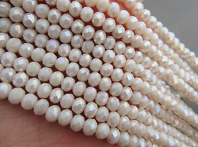 90pcs RONDELLE FACETED GLASS CRYSTAL BEADS 6mm Luster Beige Jewellery Making