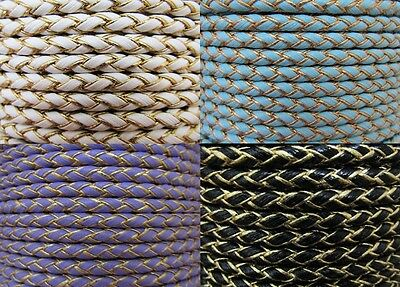 5 mm Braided PU Leather Cord Crafts Jewellery Making 4 Colours