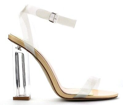 Maria-2 Lucite Clear Perspex Block Chunky High heel Open Peep Toe Sandal Shoe ND