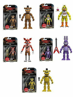 Set of 5: Funko Five Nights At Freddy's Figures - Foxy, Chica, Bonnie, Gold