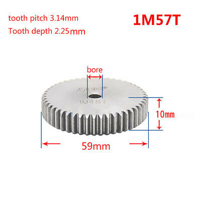 1 Mod 57T Spur Gear Steel Motor Pinion Gear Thickness 10mm Outer Dia 59mm x 1Pcs