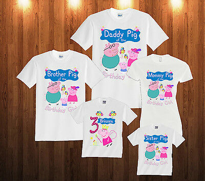 Personalized Custom Peppa Pig Birthday T-Shirt Shirt  Family Party 2T-XXL