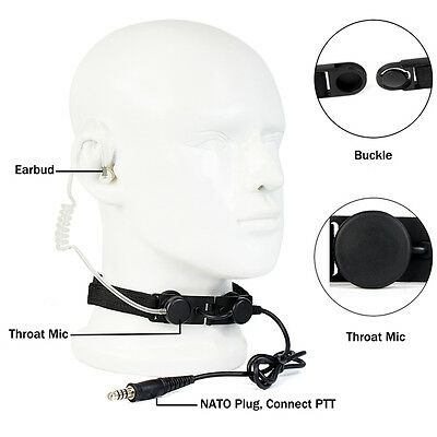 New Tactical Throat Mic Air Acoustic Tube Earpiece Headsets for Outdoor CS Best