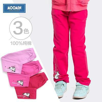 Moomins Kids Girls Sweatpants Plain Cotton 100& Knitted Pants Trousers Jogging