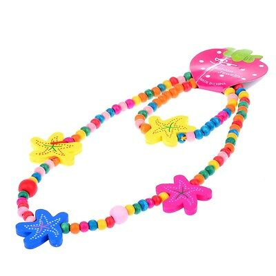 Cute Girl's Multicolor Starfish Wood Beads Necklace&Bracelet Set Xmas Gift
