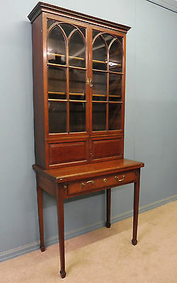 Antique Mahogany Georgian Bookcase With Fold Out Reading Stand Circa 1800