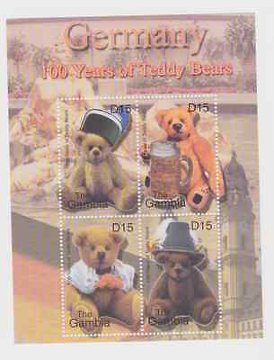 Gambia Germany 100 Years Of Teddy Bears Mnh Stamp Sheet