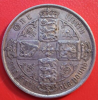 1873 Gothic Florin. Higher Grade With Lustre. Victoria British Silver Coins