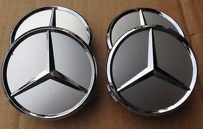 Mercedes Set Of 4 Silver Center Wheel Hub Caps 75Mm Cover Chrome Emblem