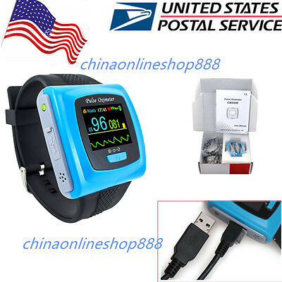 CMS50F wrist Pulse Oximeter,Spo2 PR Monitor USB+Software,over night sleep study