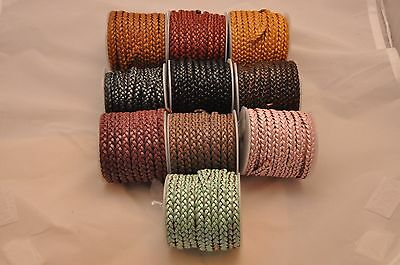 100% Real Braided Flat Leather Cord 5mm 3ply String Lace Thong Jewellery - HQ