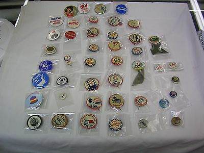 Lot of 46 Vintage pinback buttons - Comic's , political , Fraternal ,Circus -NR