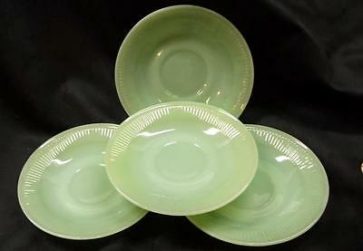 Set of 4 Fire King 'Jane Ray' Oven Ware Saucers - No Reserve