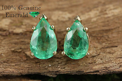 3.20cts Natural Colombian Emerald Pear Solid Gold Stud Earrings 14K Yellow