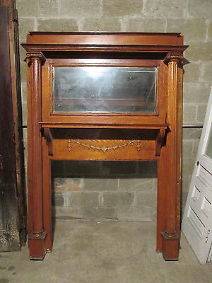 ~ Tall Oak Fireplace Mantel With Columns 60 X 84 ~ Architectural Salvage ~