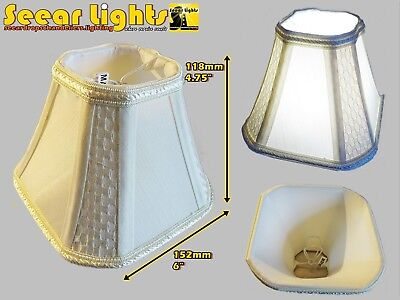 Candle Square Lampshade Clip On Bulb For Chandelier Pendant Antique Cream Shade