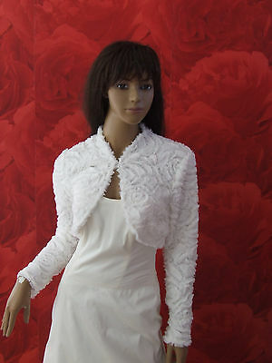 NEW Ivory Faux Fur Bolero Shrug Wedding Jacket Long Sleeve - Various Sizes - BMR