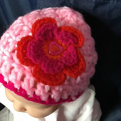 Baby Hat 0-3 Months Babies Beanie Hat Knitted Crochet Handmade Bonnets Pink Red