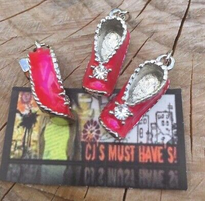 ✿ 3D Pink Enamel Crystal Slipper Shoes Quality Pendant Charms - Findings
