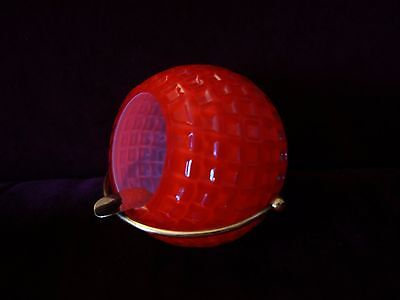 Vintage Ball Ashtray Red Textured Glass Stylish Mid-Century brass golf ball look