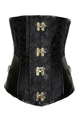 Black Brocade Corset with G-string