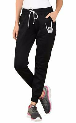 Nw Women's Accented Hand Skeleton Funny R&R Fleece Jogger Drawstring Sweatpants