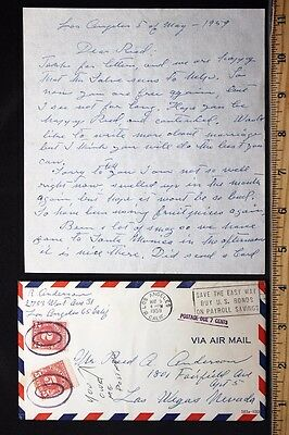 c.1959 Vintage Handwritten Letter & Envelope with 5c & 2c Postage Due Stamps