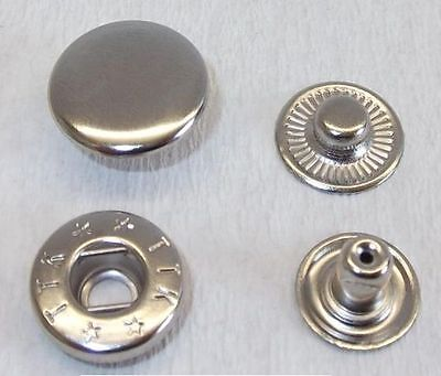 10 Poppers Push buttons 15mm silver stainless