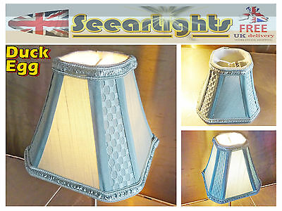 Candle Square Lampshade Clip On Chandelier Pendant Duck Egg Vintage Teal Shade
