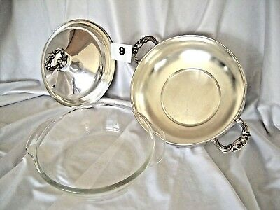 "VTG LEONARD SILVERPLATED 9"" COVERED CASSEROLE W LID Anchor Hocking GLASS INSERT"