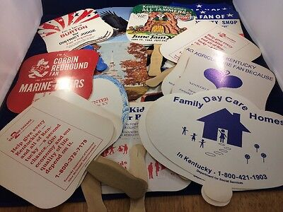 Vintage Paper Fan Mixed Lot Advertising Insurance Funeral Home Sports 20 Fans