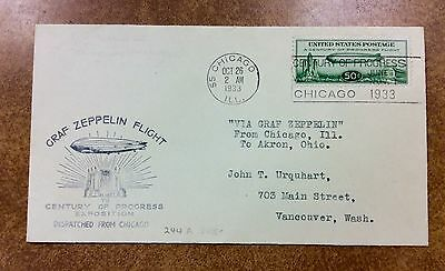 {BJ Stamps} U.S. #C18 on Cover - 1933 50c Graf Zeppelin Oct 26 Chicago to Akron