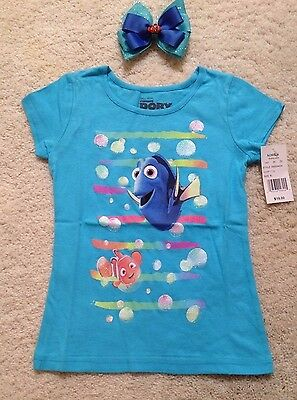 New DisneyTurquoise Short- Sleeve Finding Dory T-Shirt Toddlers/Girls(2T- 6x)Bow