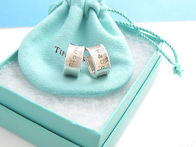Tiffany & Co RARE Silver Wide Hoop 1837 Earrings Box Pouch!