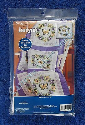 Stamped Cross Stitch Quilt Blocks Pansy Wreath Butterfly Set of 6